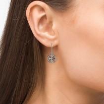 Diamond Nautical Dangle Compass Earrings 14k White Gold (0.16ct)