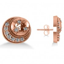 Diamond Crescent Moon and Stars Earrings 14k Rose Gold (0.28ct)