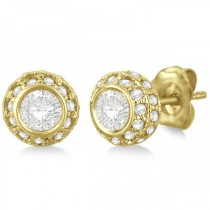 Vintage Double Halo Diamond Earrings 14k Yellow Gold (1.00cts)