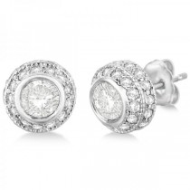 Vintage Double Halo Diamond Earrings 24k White Gold (2.00cts)