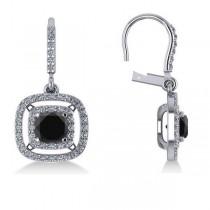 White & Black Diamond Halo Dangling Earrings 14k White Gold (3.00ct)