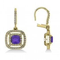 Tanzanite & Diamond Double Halo Dangling Earrings 14k Y Gold (3.00ct)