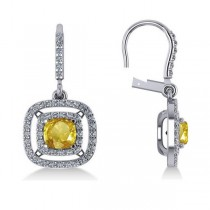 Yellow Sapphire & Diamond Halo Dangling Earrings 14k White Gold (3.00ct)
