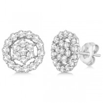 Diamond Cluster Earrings with Halo, Pave Set 14k White Gold 1.50ct