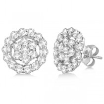 Diamond Cluster Earrings with Halo, Pave Set 14k White Gold 2.01ct