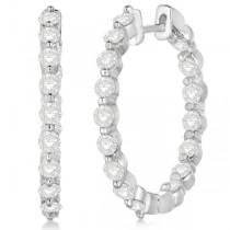 Inside Out Diamond Hoop Earrings Prong Set in 14k White Gold 2.00ct