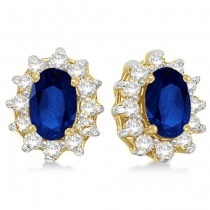Oval Blue Sapphire & Diamond Accents Earrings 14k Yellow Gold (2.05ct)