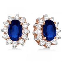 Oval Blue Sapphire & Diamond Accents Earrings 14k Rose Gold (2.05ct)