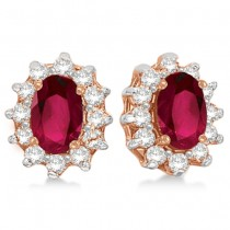 Oval Ruby & Diamond Accented Earrings 14k Rose Gold (2.05ct)
