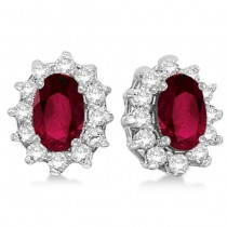 Oval Ruby & Diamond Accented Earrings 14k White Gold (2.05ct)
