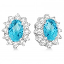 Oval Blue Topaz & Diamond Accented Earrings 14k White Gold (2.05ct)