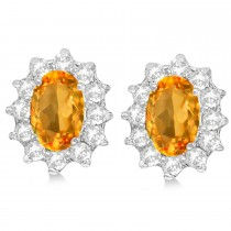 Oval Citrine & Diamond Accented Earrings 14k White Gold (2.05ct)