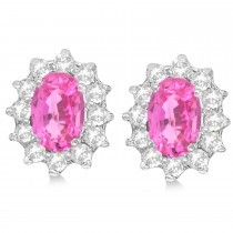 Oval Pink Sapphire & Diamond Accented Earrings 14k White Gold (2.05ct)