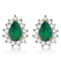Emerald & Diamond Teardrop Earrings 14k Yellow Gold (1.10ctw)