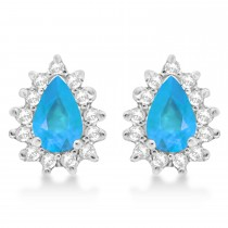 Blue Topaz and Diamond Teardrop Earrings 14k White Gold (1.10ctw)