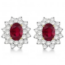 Diamond & Oval Cut Ruby Earrings 14k Yellow Gold (3.00ctw)