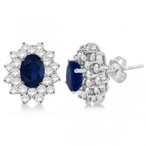 Diamond and Oval Cut Blue Sapphire Earrings 14k White Gold (3.00ctw)