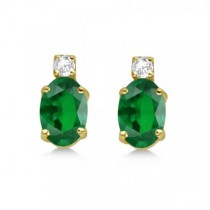 Oval Emerald Stud Earrings with Diamonds 14k Yellow Gold 0.43ct