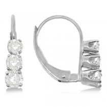 Three-Stone Leverback Diamond Earrings 14k White Gold (0.50ct)