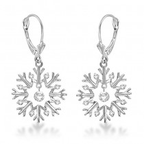 Snowflake Shaped Dangle Drop Diamond Earrings 14K White Gold (0.30ct)