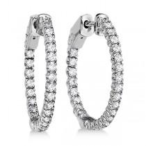 Prong-Set Diamond Hoop Earrings in 14k White Gold (1.00ct)