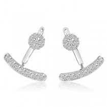 Moveable Fashion Diamond Earring Jackets 14k White Gold (1.06ct)