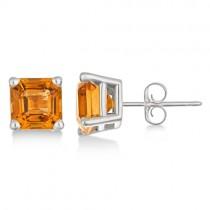 Asscher Cut Citrine Basket Stud Earrings 14k White Gold (2.10ct)