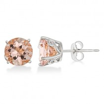 Antique Art Deco Morganite Stud Earrings 14k White Gold (2.50ct)