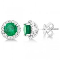 Ladies Emerald & Diamond Halo Stud Earrings in Sterling Silver 1.77ct