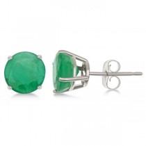 Emerald Stud Earrings Sterling Silver Prong Set (2.50ct)