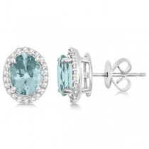 Oval Aquamarine & Diamond Halo Stud Earrings Sterling Silver 2.32ct