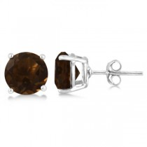 Smoky Quartz Stud Earrings Sterling Silver Prong Set (3.40ct)
