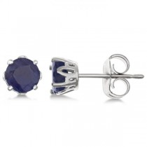 Blue Sapphire Stud Earrings Sterling Silver Prong Set (1.40ct)