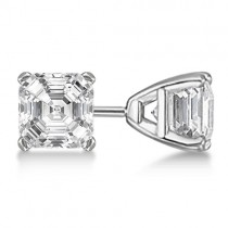 1.50ct. Asscher-Cut Diamond Stud Earrings 14kt White Gold (H SI1-SI2)
