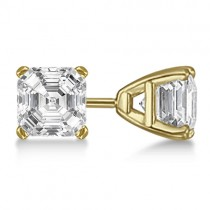 1.00ct. Asscher-Cut Diamond Stud Earrings 14kt Yellow Gold (H, SI1-SI2)