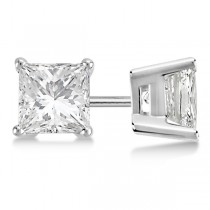 1.00ct. Princess Diamond Stud Earrings Platinum (G-H, VS2-SI1)