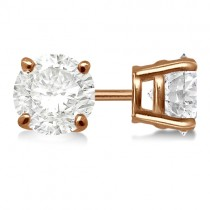 0.75ct. 4-Prong Basket Diamond Stud Earrings 18kt Rose Gold (G-H, VS2-SI1)