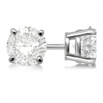 1.00ct. 4-Prong Basket Diamond Stud Earrings Palladium (G-H, VS2-SI1)