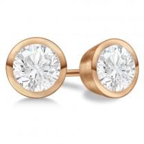 4.00ct. Bezel Set Diamond Stud Earrings 14kt Rose Gold (H-I, SI2-SI3)