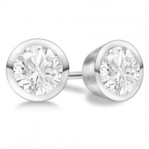 1.00ct. Bezel Set Diamond Stud Earrings 14kt White Gold (H, SI1-SI2)