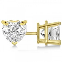 0.50ct Heart-Cut Diamond Stud Earrings 14kt Yellow Gold (H, SI1-SI2)