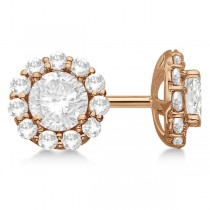 1.00ct. Halo Diamond Stud Earrings 18kt Rose Gold (H, SI1-SI2)