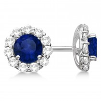 Halo Blue Sapphire & Diamond Stud Earrings 14kt White Gold 2.62ct.