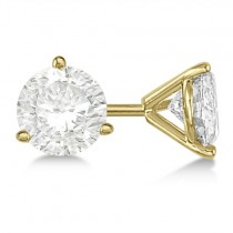 3.00ct. 3-Prong Martini Diamond Stud Earrings 14kt Yellow Gold (H, SI1-SI2)