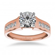 Diamond Accented Channel Set Engagement Ring 14k Rose Gold (0.29ct)
