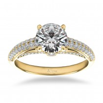 Diamond Pave Set Cathedral Engagement Ring 14k Yellow Gold (0.45ct)
