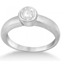 Bezel-Set Solitaire Engagement Ring Setting in Platinum