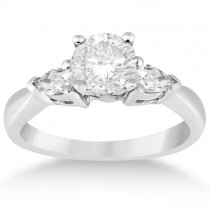 Three Stone Pear Shaped Diamond Engagement Ring 14k White Gold (0.50ct)