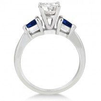 Pear Three Stone Blue Sapphire Engagement Ring 14k White Gold (0.50ct)
