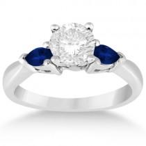 Pear Cut Three Stone Blue Sapphire Engagement Ring Palladium (0.50ct)